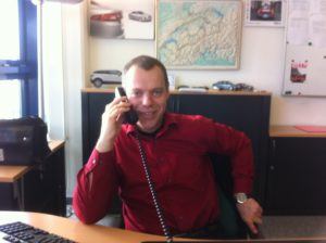 At my office desk at Jaguar Land Rover Switzerland headquarters in Safenwil